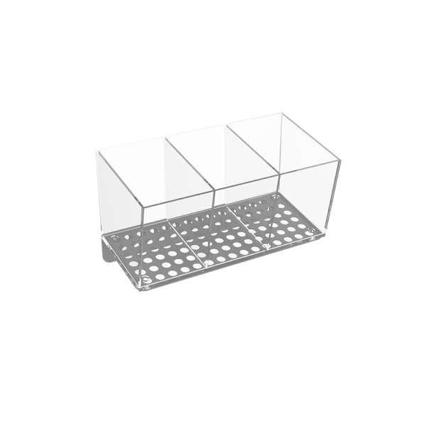 ANGLED/DIVIDED ACRYLIC BIN FOR PERFORATED PANEL
