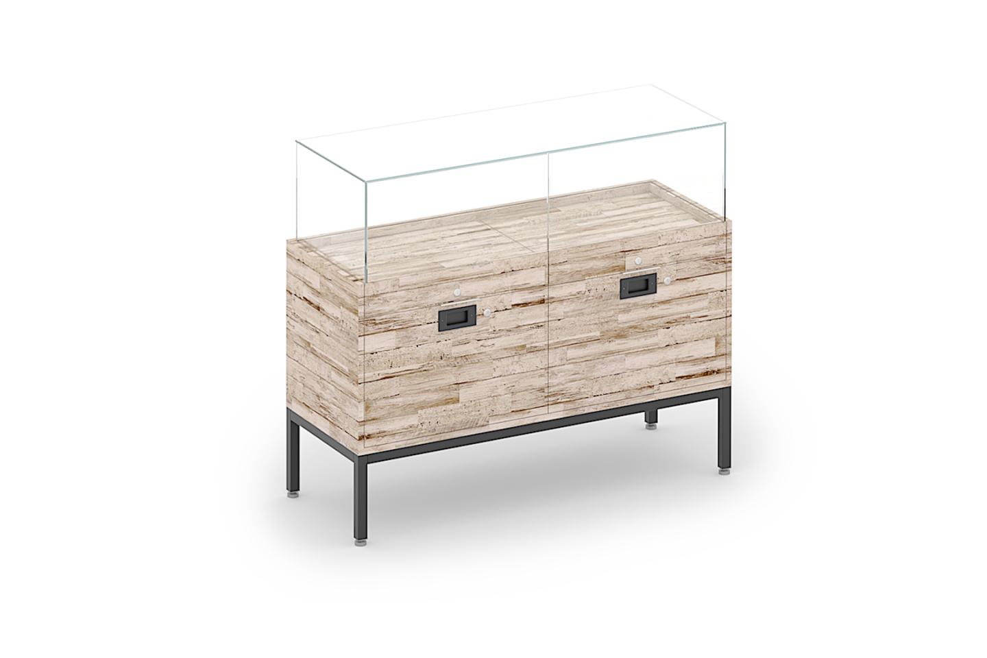 Evolve Collection Double Drawer Locking Glass Showcase