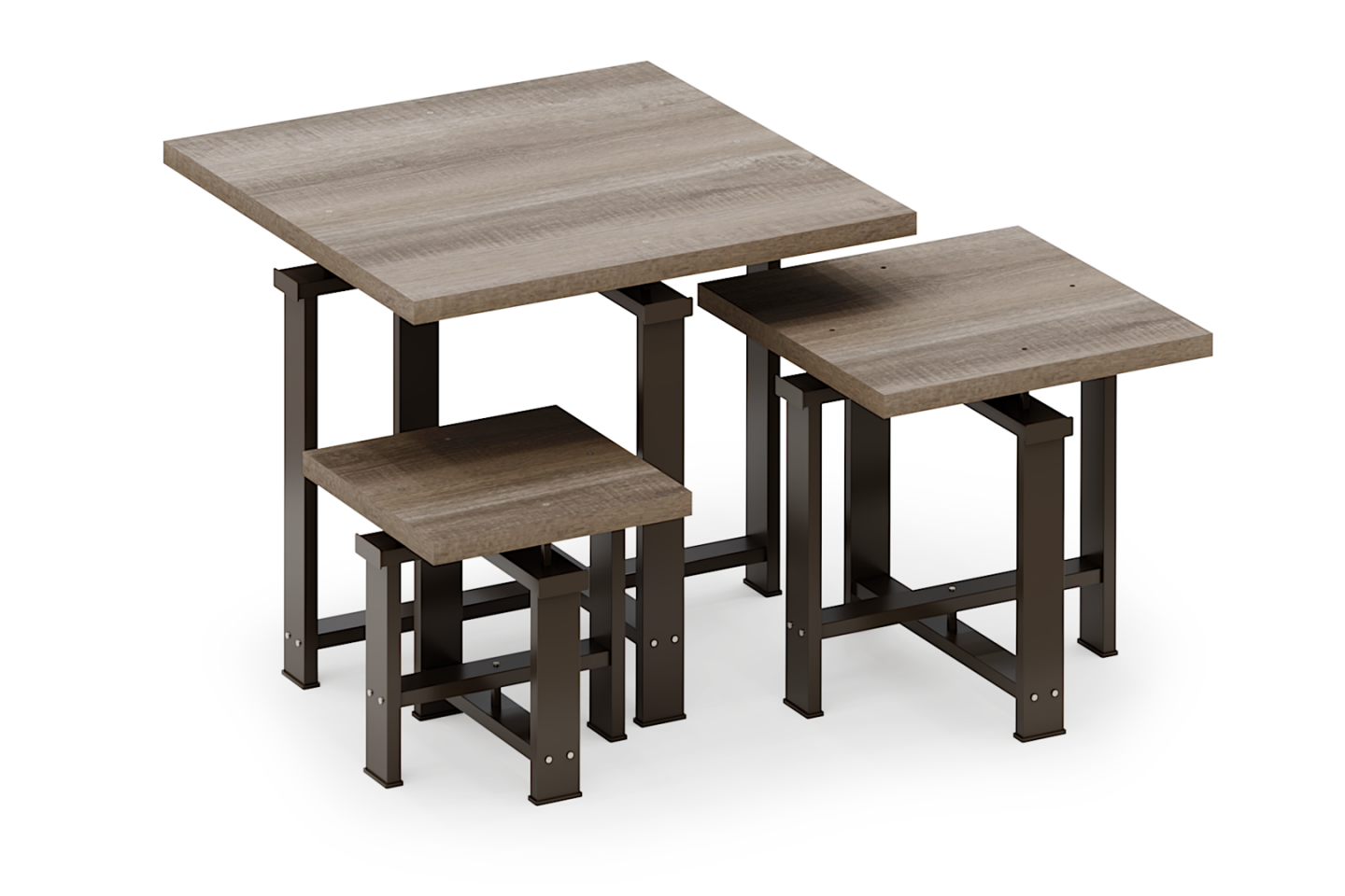 Edge Collection Square Table Set with Laminated Tops
