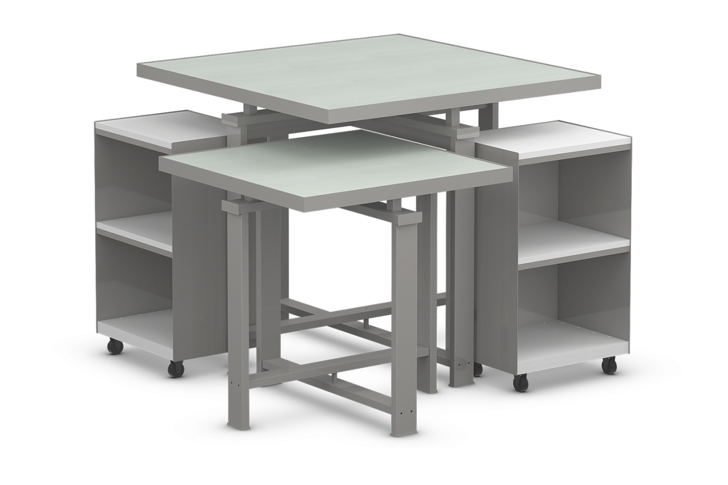 Edge Collection Square Table Set with Laminated Tops and Mobile Cubbies