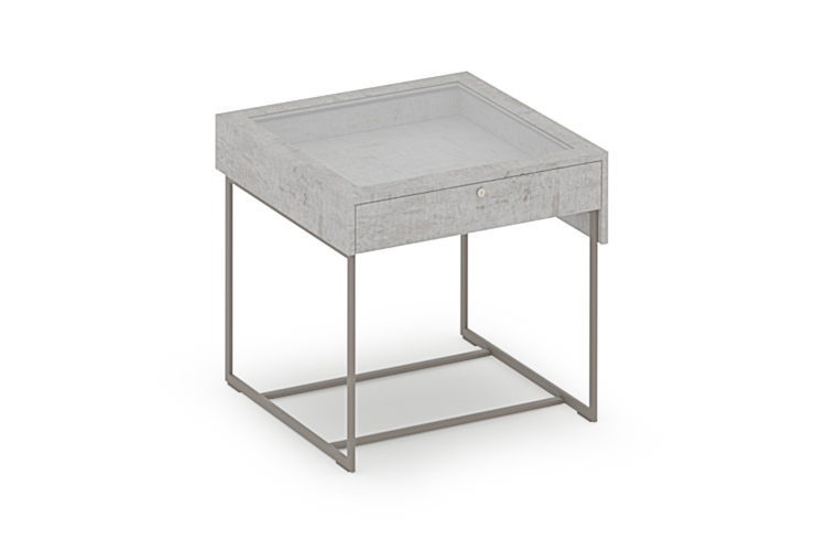 Reveal Collection Tall Showcase Table with Glass Top and Drawer