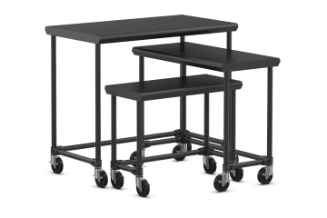 Classic Collection High Metal Bullnose Nesting Table Set