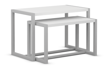 Edge Collection Nesting Tables with Laminated Tops and Open Sides