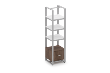 Reveal Tall Etagere with Laminated Shelves and Locking Cabinet
