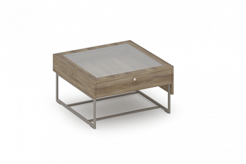 Reveal Collection Short Showcase Table with Glass Top and Drawer